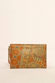 Vintage Paisley Leather Clutch