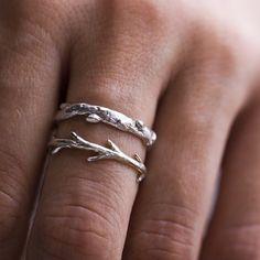 Silver Branch Ring & Twig Ring Set Stacking by ColbyJuneJewelry Jewelry Rings, Jewelry Box, Jewelry Accessories, Jewelry Design, Jewelry Making, Gold Jewellery, Jewellery Shops, Glass Jewelry, Diamond Jewelry