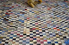 Antique 19th century Hand Stitched Calico Postage Stamp Quilt *