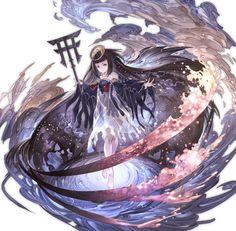 Summon b 2040263000 - Tsukuyomi - Granblue Fantasy Wiki Fantasy Armor, Anime Fantasy, Fantasy Girl, Fantasy Character Design, Character Concept, Character Art, Granblue Fantasy Characters, Anime Weapons, Angel And Devil