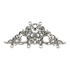 Pewter Antique Silver Large Fancy Connector, 30x65mm