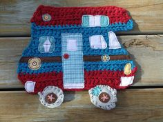 Camper table hot mat, crocheted and appliqued. $10.00, via Etsy.