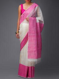Ivory-Pink Banarasi Linen Saree by Ekaya #available on jaypore.com #saree…