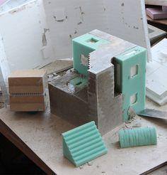 concrete architecture model Cubic Geometry Concrete Modular Sculptures by Artist David Umemoto Cement Art, Concrete Crafts, Concrete Projects, Concrete Furniture, Concrete Pots, Beton Design, Concrete Design, Landscape Model, Landscape Bricks