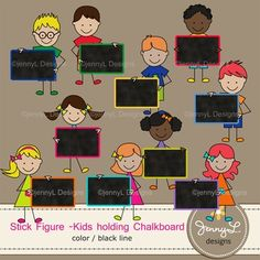 These Stick Kids Clipart: Kids holding Chalkboard Frames Color and Lineart , Black Line are ideal for creating various art projects, classroom decors, teaching materials, digital scrapbooking, making invitations, other creative fun projects at school or home. 10 stick kids- boys holding chalkboard frames10 stick kids -girls holding chalkboard frames- Available in COLOR  and LINEART / BLACK LINEtotal = 20…