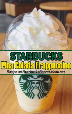Piña Colada Frappuccino Refreshingly tropical, everyday will feel like Friyay with an icy Piña Colada Frappuccino in your hand.Refreshingly tropical, everyday will feel like Friyay with an icy Piña Colada Frappuccino in your hand. Body By Vi, Starbucks Secret Menu Drinks, Starbucks Frappuccino, Starbucks Hacks, Disney Starbucks, Starbucks Cup, Keto Drink, Coffee Recipes, Fondue Recipes