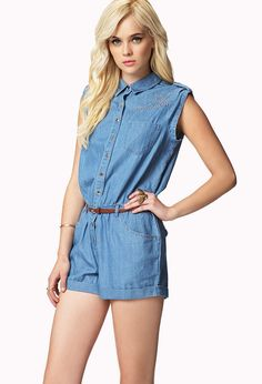 Blue Denim Playsuit by Forever 21. Buy for $16 from Forever 21