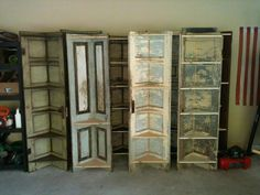 Turn old doors into corner shelves