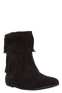 Black Mia Fringe Short Boots | Booties I just got these in the mail yesterday!!
