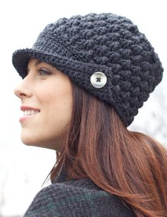 Women's Peaked Cap - free patter from Yarnspirations