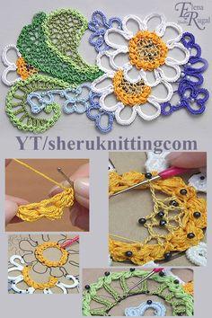 Crochet Summer Project in Irish Lace Tutorial 13 Crochet Leaf Patterns, Crochet Lace Edging, Freeform Crochet, Crochet Stitches, Crochet Mandala, Crochet Afghans, Crochet Blankets, Filet Crochet, Irish Crochet Tutorial