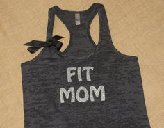 Fit Mom. Don't have time to workout, make time. Glitter. Bow. Tank. Racerback. Size S-2XL. Burnout. Black. Exercise. Workout. Fitness. Mom.
