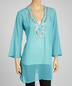 Take a look at this Turquoise Sequin Chiffon Tunic by Life and Style Fashions on #zulily today!