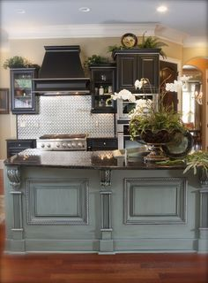 Satin Black and French Blue Island Glazed in Charcoal with Pewter Accents. Very Cool Kitchen