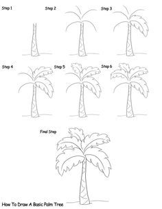 Ideas For Palm Tree Drawing Sketches Paintings Doodle Drawings, Easy Drawings, Doodle Art, Drawing Sketches, Pencil Drawings, Drawing Tips, Sketching, Step By Step Drawing, Drawing Techniques