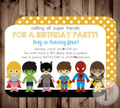 SUPER-héros et SUPER GIRL anniversaire Invitation par T3DesignsCo