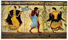 Dancers and a harpist on an Etruscan fresco from Tarquinia, Italy. This fresco was found on the wall of a tomb and dates from c. 465 BC. Tarquinia was a principal city of the Etruscan people, who inhabited parts of modern day Tuscany and Umbria from the 8th to the 2nd centuries BC.(Image © Billie Love)