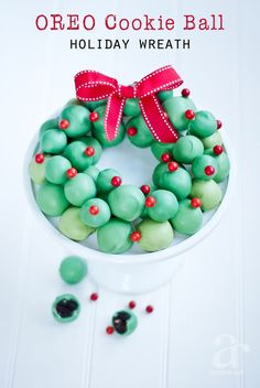 OREO Cookie Balls Wreath Recipe for the holiday season