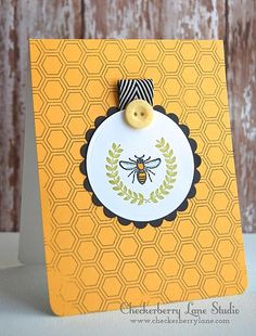 Bee Happy with Hex Background