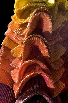 'Sculpture Dress' (detail), 1992. By Roberto Capucci (Italian, b. 1930). Schauspielhaus Theatre Berlin. Sculpture-dress, multi-coloured plissé taffeta, overlapping pleats on the skirt. Claudia Primangeli / L.e C. Service. Courtesy of the Philadelphia Museum of Art