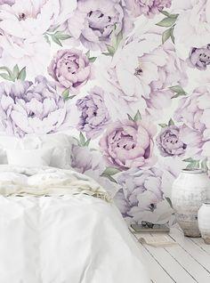 Wall Art Wallpaper, Mural Wall Art, Fabric Wallpaper, Wallpaper Samples, Flower Mural, Flower Wall, Purple Peonies, Purple Flowers, Purple Rooms