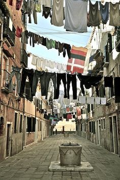 clothes lined street in Castello, Venice