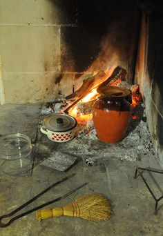 Cooking Ceci Soup on the fire in Puglia