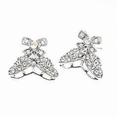TRACK /& FIELD Crystal Rhinestone Embellished Heart Earrings.Show Pride in Your Favorite Sport