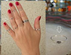 925 Sterling Silver,  Sweet-heart  1mm Band Midi Ring Above Knuckle Ring. http://stores.ebay.ie/SilverTrend4U?_rdc=1