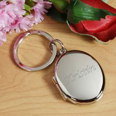 Personalized Initial or Name Silver Oval Locket Keychain - Gifts Happen Here