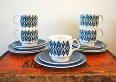 5 Vintage 60s Staffordshire Pottery Trios Cups Plates Retro Mid Century Blue