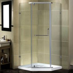 """Aston 38"""" x 38"""" x 77.5"""" Semi-Frameless Neo-Angle Shower Enclosure with Low-Profile Base"""