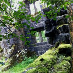 Wycoller old hall ruins on a sunny August afternoon