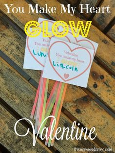 You Make my Heart GLOW - FREE Valentine's Day Printable,  non-candy Valentines, DIY Valentines for kids, Handmade Valentines, Glow Stick Valentines