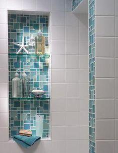 Tiled alcove adding a splash of color with white tiles (beach house bathroom ) Coastal Bathrooms, Beach Bathrooms, Beach House Bathroom, Beach Theme Bathroom, Beachy Bathroom Ideas, Colorful Bathroom, Beach Shower, Natural Bathroom, Tiny Bathrooms