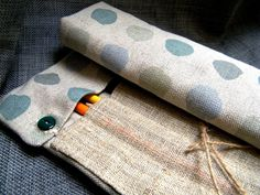 """Roll-up pencil case """"Bubbles.""""  DIY inspiration for knitting needles"""