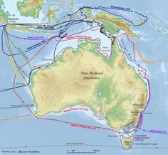 EARLY EXPLORATION OF AUSTRALIA - These are the navigational routes of sailors discovering Australia and surrounding lands, For more info click on photo... **Please share