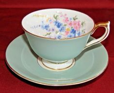 Vintage-Aynsley-Turquoise-Floral-Blue-Footed-Teacup-England-Tea-Cup-Saucer
