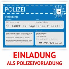 #Einladungskarten Als #Polizeivorladung In Grün. Mit Eigenem Text. Http://