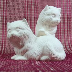 Unpainted Ceramic Cat Figurine / Cat Statue by JillsTreasureChest