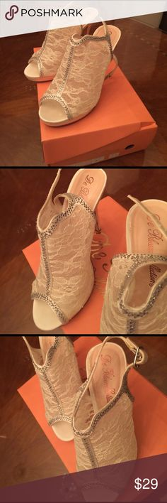 Gorgeous White Lace Sequence Heels Elegance! De Blossom Shoes Heels