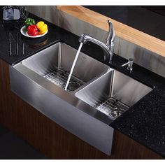 """Oh yeah like this one will.match all the steel appliances! Kraus Farmhouse 36"""" 70/30 Double Bowl Kitchen Sink"""