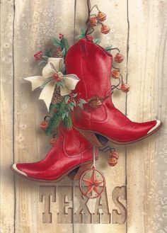 Christmas on the Square Western Christmas, Country Christmas, All Things Christmas, Vintage Christmas, Christmas Holidays, Christmas Christmas, Cowboy Boot Crafts, Western Crafts, Holiday Wreaths