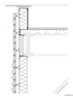 Bechtler Museum of Modern Art detail wall-section drawing at fourth-floor parapet. Image: Mario Botta Architetto/ Wagner Murray Architects