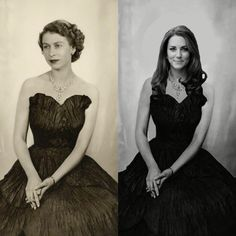 "PHOTOSHOPPING Catherine on to Her Majesty! This has been floating around since last year as ""the official 2015 portrait of Catherine"". The ORIGINAL photo is from Dorothy Wilding's photos of Queen Elizabeth in 1952!"