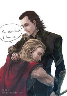 "Thor+Loki+by+soft-tofu.deviantart.com. ""You have a heart, I hear it."""