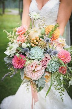 Spring wedding bouquet idea - pink floral + succulent bouquet with roses, dahlias, berries, dusty miller and succulents {Beargrass Gardens Floral & Events}