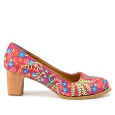 Lien & Giel Miami Pumps roze Embroidery Pink floral print shoes high heels