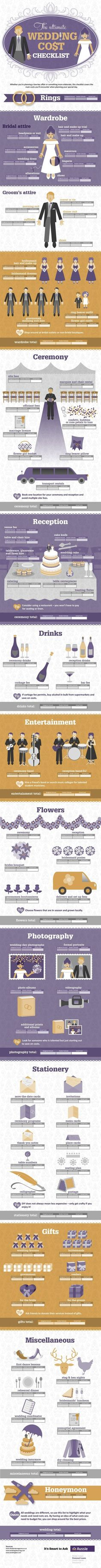 We're loving this detailed infographic to help you plan your wedding budget, from the wedding ring cost to the honeymoon and everything in between!
