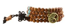 Tibetan Bodhi Beads Dyed Brown Daemonorops Seeds Prayer Beads Mala Necklace Wrap Bracelet (Antique Finishing Tree of Life Charm). Great for Mantra Chanting, Meditation, Yoga Practices; Please note that each bead will have one or more small dents, which are called moons. This is a nature of natural star and moon Bodhi seeds. The dyed brown color and the shape might vary slightly due to the nature of Bodhi beads. Bead Size: Around 7mm ( Measured with a caliper; The size may vary due to the...